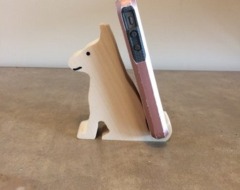 Cute Dog Cell Phone Holder Unpainted You Pick The Color  Can Be Personalized