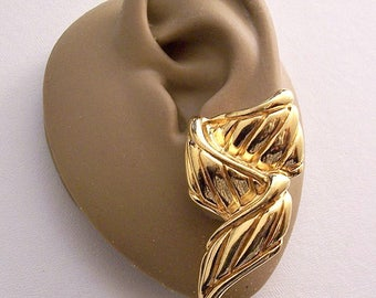 Premier Designs Wrapped Ribbon Clip On Earrings Gold Tone Vintage Wide Slant Ribbed Raised Rimmed Edges Long Twisted Dangles