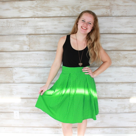 Green Skirt, Pleated Skirt, Polka Dot Skirt with Pockets, Cotton Skirt, Knee Length Skirt, A Line Skirt, Womens Skirts, Polka Dot