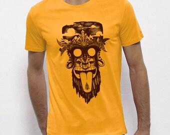 Hand Screenprinted T-shirt / monkey / Yellow