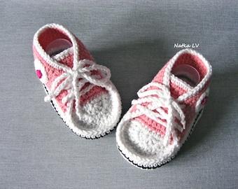 Baby pink crochet booties, baby crochet sneakers, baby summer booties, baby pink white shoes, baby foot wear, newborn baby girl booties