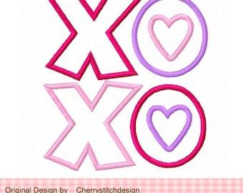 """XOXO Valentine's Day Machine Embroidery Applique Design - 4x4 5x5 6x6"""""""