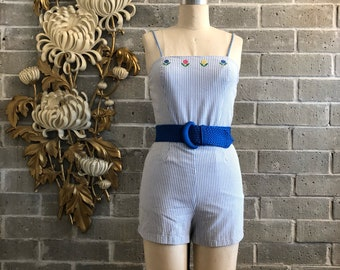 1960s romper vintage playsuit pinstriped romper sea waves size small cotton romper 1960s playsuit vintage beach wear 1960s shorts