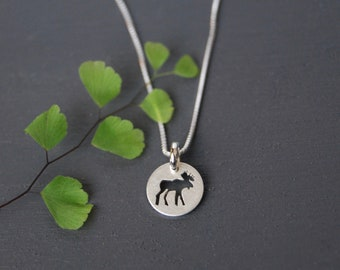 Moose Pendant, Moose, Moose Necklace, Canadian Jewelry, Simple Pendent, Small Jewelry, Sterling Silver Necklace, Handcut