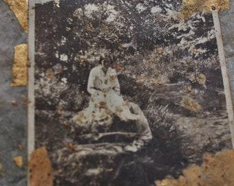 Summer scene vintage photo ephemera piece, scrapbook, journal