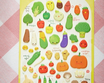 Cute Vegetable,Fruit Sticker,Korean Pop up 3D sticker, Phone sticker, scrapbook, fancy sticker, puffy stickers, craft stickers,kid stickers