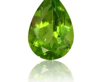 Natural Genuine Peridot AAA Pear Faceted Shape Loose Stone (4x3mm - 10x7mm)