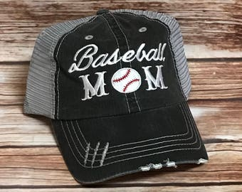 Baseball Mom* Baseball Mom Caps* Baseball Moms* Baseball Momma* Mom Hat* Mom Stuff* Gift for mom*Baseball* Personalized Gift* Softball Mom*