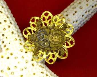 Golden Steampunk Ring . Vintage Brass Turtle . Steam Punk Watch Parts . Adjustable Filigree Ring - Halloween Turtle by enchantedbeas on Etsy