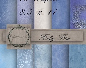 Sale Baby Blue Digital Papers, Baby Blue Printable Papers,  Blue Scrapbook Digital Baby Blue  8.5 x 11   No P 16SA