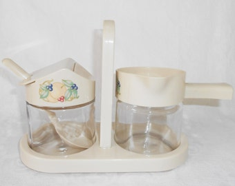 Corning  Corelle Abundance Syrup and Jam Server,  Spoon and Caddy