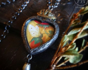 Moth & Rose ~  Sacred Heart Pictorial Amulet Necklace