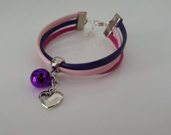 "Wristband leather ""PINK BELL"""