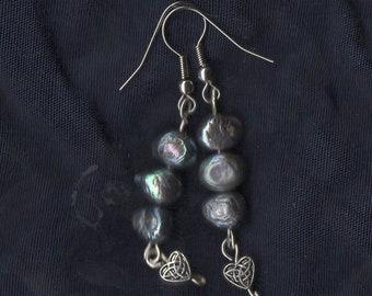 Celtic Heart Pearl Earrings Jewelry