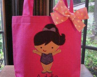 TOTE BAG Gymnast Cutie Personalized Toddler or Big Kid Tote