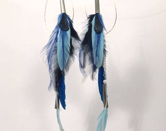 Blue and Black Feather Earrings