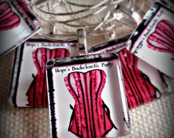 Sexy Personalized Bachelorette Wine Charm Party Favors l Personalize the Corset Color and Add Names l Scrabble Size l Handmade