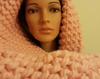 pale pink scarf, chunky scarf, warm scarf, mothers day gift, soft touch scarf, winter warmer