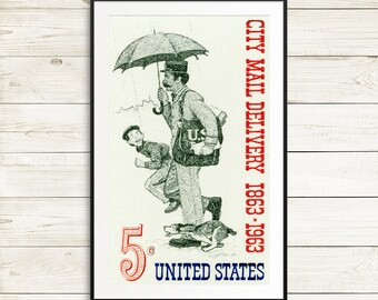mailman retirement, postal worker gift ideas, vintage post office decor, mail delivery wall art, mail room wall art, norman rockwell prints