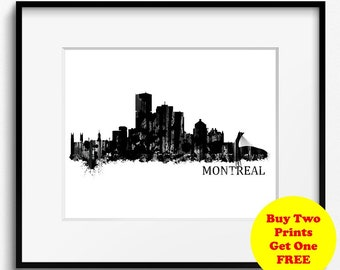 Montreal Skyline Watercolor Black and White Art Print (810) Montreal Cityscape, Montreal Art Print. Quebec Art Print, Canada Art Print