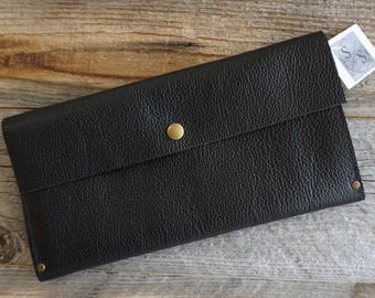 Black Motorcycle Leather Clutch Purse,  Leather Evening Bag, Leather Purse, Leather Clutch, Everyday Clutch, Leather Clutch