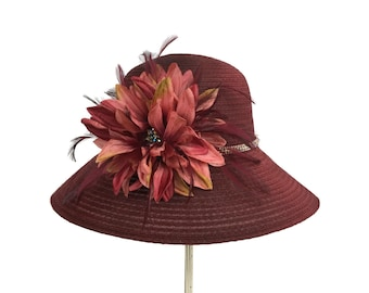 """Women's Kentucky Derby Hat, Easter Hat, Wedding Guest Hat, Tea Party Hat in Claret Wine, Mauve and Rose Gold  - """"Ice Wine Treasure"""""""
