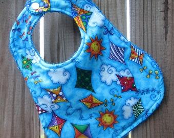 Baby Bib - Flying High Kites - Summer Bib - Gender Neutral Baby Bib for Baby Girl or Baby Boy - Summer Baby Bib - Drool Bib - Handmade Bib