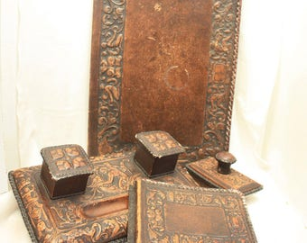 Antique Spanish Leather Desk Set with Double Inkwell, Renaissance Revival