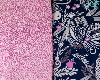 You Choose Your Cap! Birds and Floral on Navy with Pink Floral