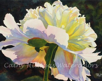 Peony Art watercolor painting print by Cathy Hillegas, 16 x 22, floral watercolor print, white pink peony art, mothers day, gifts for mom