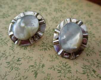 vintage mother of pearl sterling silver earrings - oval cabochon, pierced