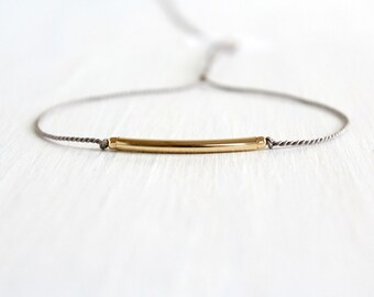 Minimalist Friendship Silk Cord Bracelet Best Friend Gift Dainty Mix Metal Jewelry Gold Filled Tube Stack Bracelet