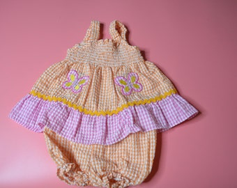 Baby Girl's Vintage Gingham Sun Dress and Panties Size 6-9 Months by Mon Petit