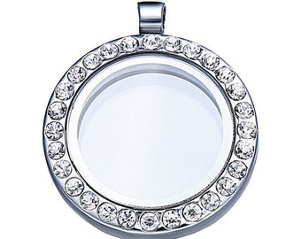 Floating Charm Locket - Memory Locket- Floating Locket - Silver with Rhinestone (Outside 30mm,Inside 20mm)