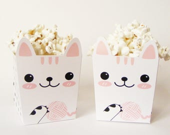 Set of  6 PARTY POPCORN BOXES. Kitten theme. Children's party. Candy bar. Sweet table. Sweet buffet