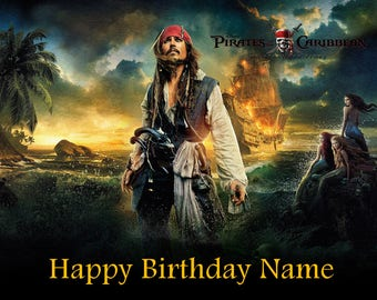 Pirates of the Caribbean Jack Sparrow Edible Image Cake Topper Personalized Birthday 1/4 Sheet