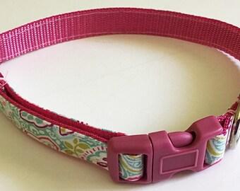 Pink & Aqua Floral Girl Dog and Cat Collar