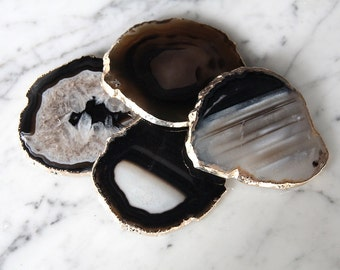 Black Agate Coasters Set of 4 or 6 Gold Plated / Black Agate Slice/ Geode Coasters / Gold Rimmed Coasters
