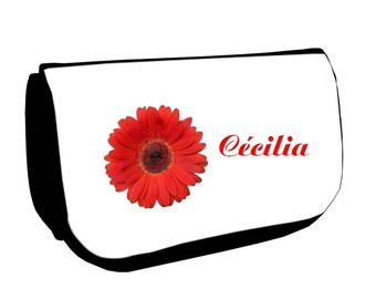 Black cosmetic case /crayons Fleur personalized with name