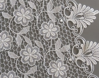 White Lace Fabric by the 1/2 Yard, White Silky Venise Lace with Double Scallop Edge