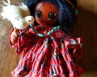 Vintage Native American Leather Doll, Indian Art, Native American Art, Kachina Doll, Native American Dolls, Vintage Dolls