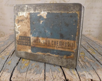 Industrial can, Czech, Box, an old toolbox, old tin container, The metal tin, metal box, container,