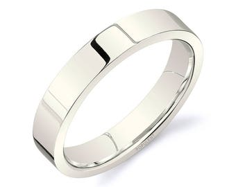 14k Vanilla Gold Band (4mm) / PLAIN / Polished Flat + Comfort Fit / Men's Women's Wedding Ring White Unplated Champagne