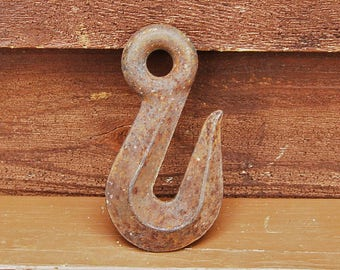 Cast Iron Factory Hook, Vintage Heavy Duty Iron Chain Hook, Industrial Cast Iron Hook