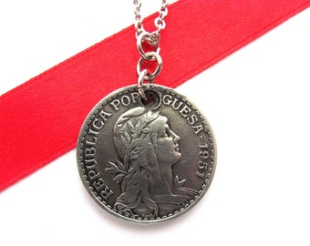 Portuguese Coin Pendant, 1 Escudo, Portugal, 1951, Vintage, Upcycled, Repurposed, Eco Friendly Jewelry by Hendywood