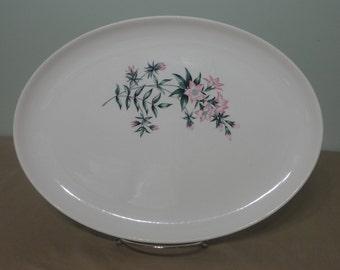Vintage MCM Taylor Smith & Taylor TST Lady Marguerite Pink Flower Serving Platter