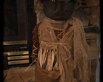 Primitive Fall Halloween black witch Ready to ship