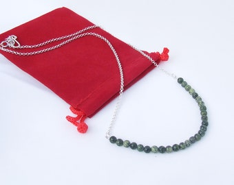 Serpentine Necklace, Moss green beads, fine sterling plated chain