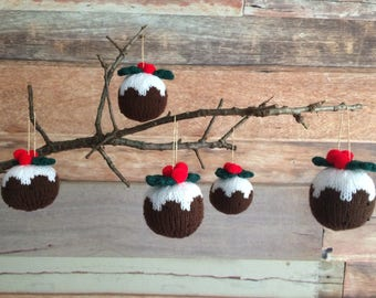 Set of 3 hand knitted christmas puddings