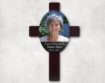 Cross Plaque - Loss of Loved One - In Memory Of - Personalized Gift - Photo Gift - Memorial Gift - Sympathy Gift - Bereavement Gift